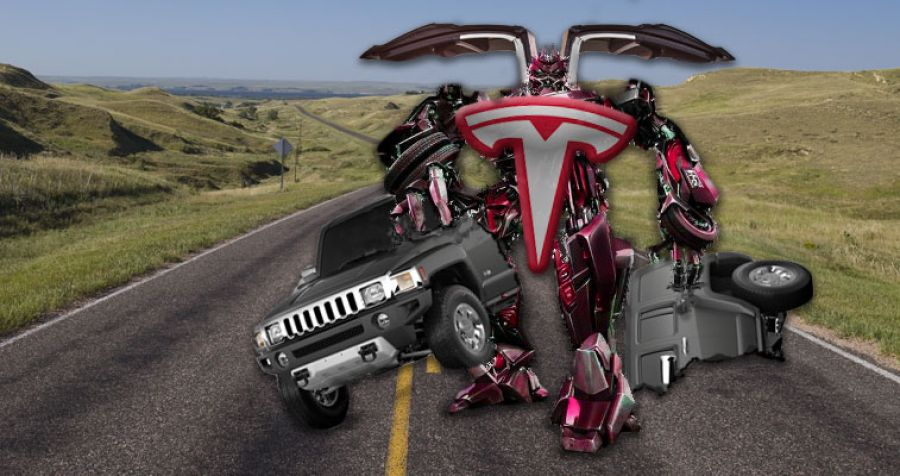 Tesla Transforms Into Giant Robot and Tears Hummer in Half